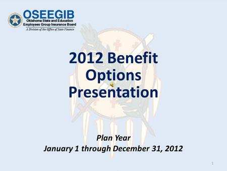 Plan Year January 1 through December 31, 2012 2012 Benefit Options Presentation 1.