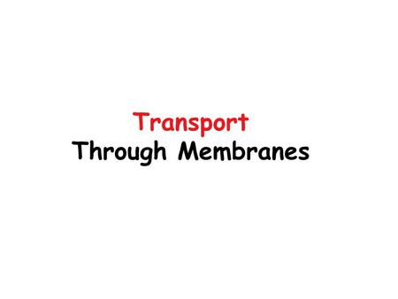 Transport Through Membranes. Necessity for Transport Plasma Membranes Intracellular Membranes (Organelles)