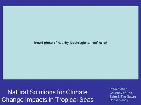Natural Solutions for Climate Change Impacts in Tropical Seas Presentation Courtesy of Rod Salm & The Nature Conservancy Insert photo of healthy local/regional.