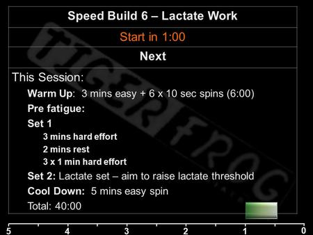 5 42 1 0 3 Speed Build 6 – Lactate Work Start in 1:00 Next This Session: Warm Up: 3 mins easy + 6 x 10 sec spins (6:00) Pre fatigue: Set 1 3 mins hard.