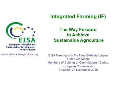 Integrated Farming (IF) Sustainable Agriculture