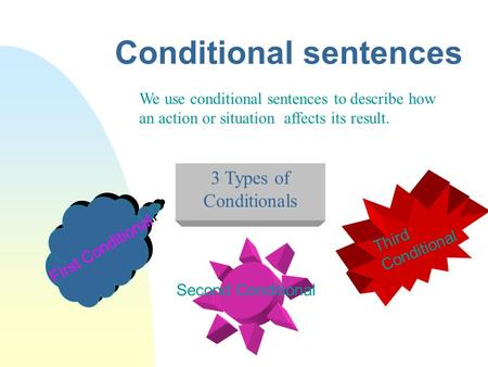 Conditional sentences We use conditional sentences to describe how an action or situation affects its result. Second Conditional First Conditional Third.