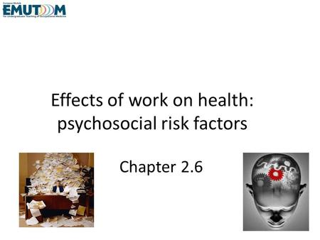 Effects of work on health: psychosocial risk factors Chapter 2.6.
