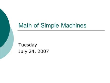 Math of Simple Machines
