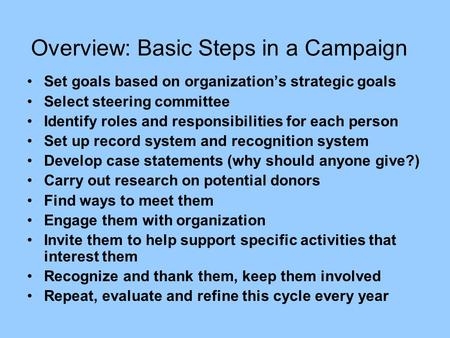 Overview: Basic Steps in a Campaign Set goals based on organization's strategic goals Select steering committee Identify roles and responsibilities for.