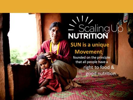SUN is a unique Movement founded on the principle that all people have a right to food & good nutrition.