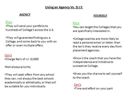 Using an Agency Vs. D.I.Y. Pro's They will send your portfolio to hundreds of College's across the U.S. They will guarantee finding you a College, and.