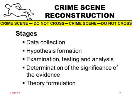 Chapter 3 0 CRIME SCENE RECONSTRUCTION Stages  Data collection  Hypothesis formation  Examination, testing and analysis  Determination of the significance.