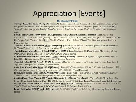 Appreciation [Events] Restaurant/Food: Carl's Jr. Value: $75 Price: $5.<strong>99</strong> [All Locations] 1 Bacon Western Cheeseburger, 1 Loaded Breakfast Burrito, 3 buy.