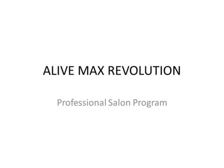 Professional Salon Program