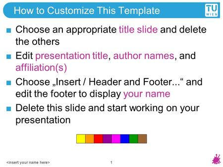 How to Customize This Template Choose an appropriate title slide and delete the others Edit presentation title, author names, and affiliation(s) Choose.
