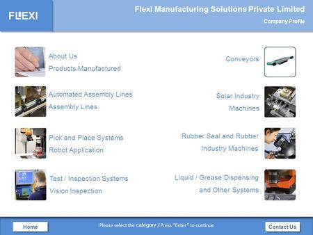FLEXI Flexi Manufacturing Solutions Private Limited Company Profile Contact Us Home Automated Assembly Lines Assembly Lines Pick and Place Systems Robot.