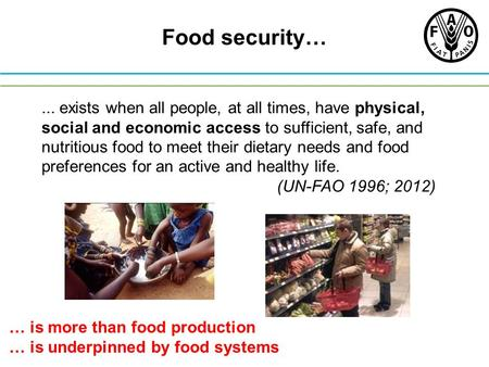 Food security… ... exists when all people, at all times, have physical, social and economic access to sufficient, safe, and nutritious food to meet their.