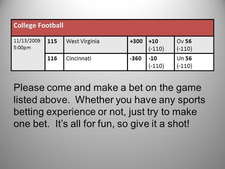 College Football 11/13/2009 5:00pm 115West Virginia+300+10 (-110) Ov 56 (-110) 116Cincinnati-360-10 (-110) Un 56 (-110) Please come and make a bet on the.