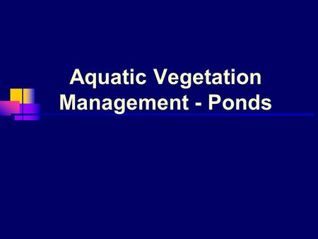 Aquatic Vegetation Management - Ponds. Importance of aquatic vegetation Food Oxygen Shelter.