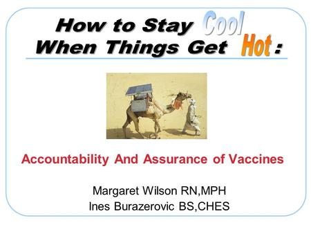 Accountability And Assurance of Vaccines Margaret Wilson RN,MPH Ines Burazerovic BS,CHES.