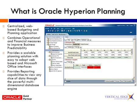 What is Oracle Hyperion Planning  Centralized, web- based Budgeting and Planning application  Combines Operational and Financial measures to improve.