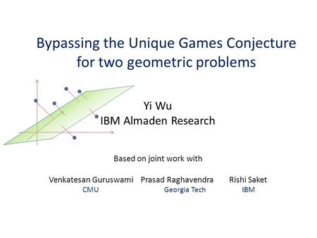Bypassing the Unique Games Conjecture for two geometric problems Yi Wu IBM Almaden Research Based on joint work with Venkatesan Guruswami Prasad Raghavendra.