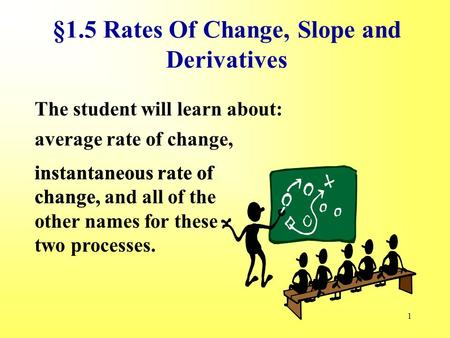 1 §1.5 Rates Of Change, Slope and Derivatives The student will learn about: average rate of change, instantaneous rate of change, instantaneous rate of.