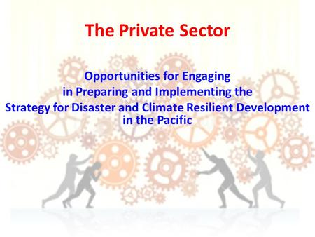 The Private Sector Opportunities for Engaging in Preparing and Implementing the Strategy for Disaster and Climate Resilient Development in the Pacific.