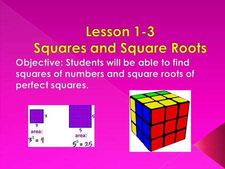 Find the area of each square. How do you find the area of each square? Area may be found by either counting the number of units or multiply length of.