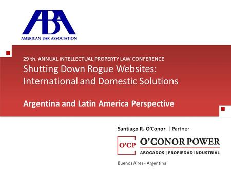 29 th. ANNUAL INTELLECTUAL PROPERTY LAW CONFERENCE Shutting Down Rogue Websites: International and Domestic Solutions Argentina and Latin America Perspective.