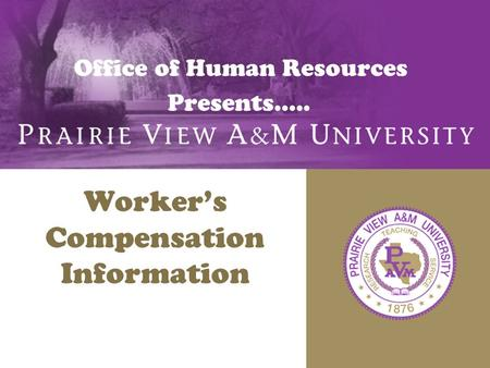 Office of Human Resources Presents….. Worker's Compensation Information.