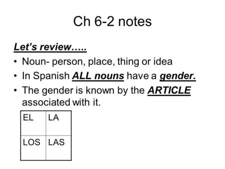 Ch 6-2 notes Let's review….. Noun- person, place, thing or idea In Spanish ALL nouns have a gender. The gender is known by the ARTICLE associated with.