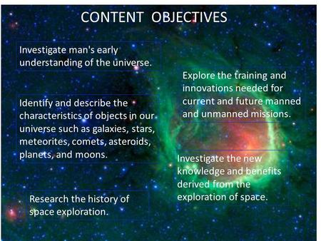 Investigate man's early understanding of the universe. Identify and describe the characteristics of objects in our universe such as galaxies, stars, meteorites,