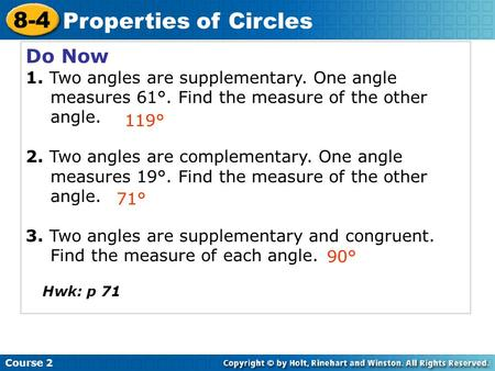 8-4 Properties of Circles Do Now