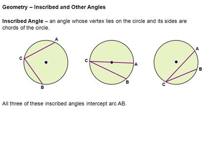 Angles in a circle keystone geometry ppt video online download geometry inscribed and other angles ccuart Image collections