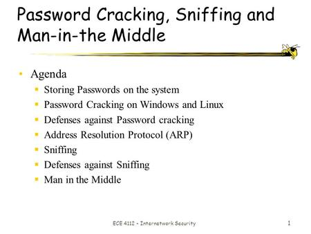 ECE 4112 - Internetwork Security 1 Password Cracking, Sniffing and Man-in-the Middle Agenda  Storing Passwords on the system  Password Cracking on Windows.