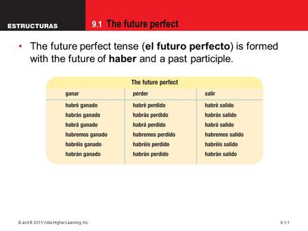 9.1 The future perfect © and ® 2011 Vista Higher Learning, Inc.9.1-1 The future perfect tense (el futuro perfecto) is formed with the future of haber and.