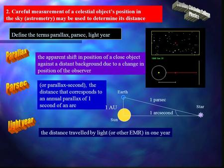 Earth Sun Star 2. Careful measurement of a celestial object's position in the sky (astrometry) may be used to determine its distance Define the terms parallax,