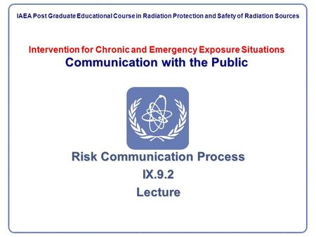 Intervention for Chronic and Emergency Exposure Situations Communication with the Public Risk Communication Process IX.9.2Lecture IAEA Post Graduate Educational.