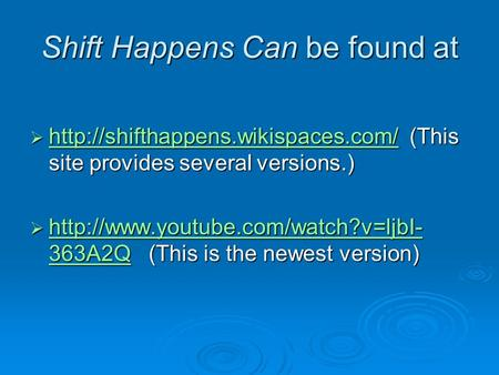 Shift Happens Can be found at   (This site provides several versions.)  