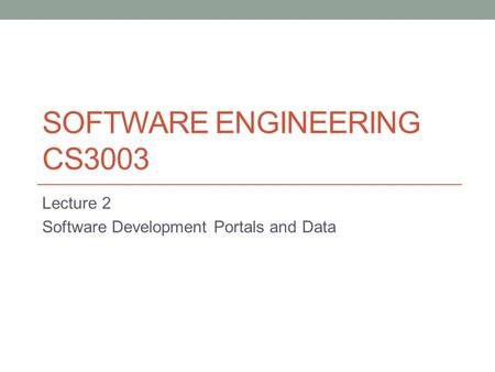 Software Engineering CS3003