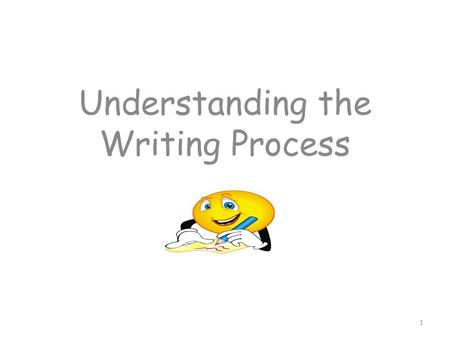Understanding the Writing Process 1. What do good readers do? Read for meaning. Check for understanding as they are reading – what is happening? Why is.