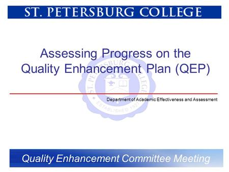 Assessing Progress on the Quality Enhancement Plan (QEP) Quality Enhancement Committee Meeting Department of Academic Effectiveness and Assessment.