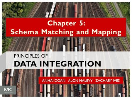 ANHAI DOAN ALON HALEVY ZACHARY IVES Chapter 5: Schema Matching and Mapping PRINCIPLES OF DATA INTEGRATION.