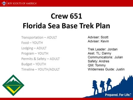 Crew 651 Florida Sea Base Trek Plan Transportation – ADULT Food – YOUTH Lodging – ADULT Program – YOUTH Permits & Safety – ADULT Budget – YOUTH Timeline.