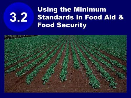Using the Minimum Standards in Food Aid & Food Security 3.2.
