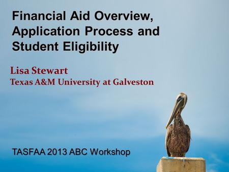 Financial Aid Overview, Application Process and Student Eligibility Lisa Stewart Texas A&M University at Galveston TASFAA 2013 ABC Workshop.