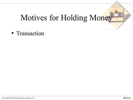 demand for money motives and classifications Money demand the demand for money represents the desire of households and businesses to hold assets in a form that can be easily exchanged for goods and services.