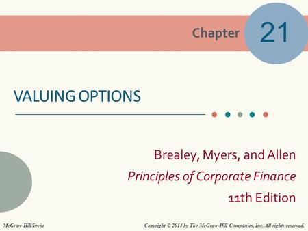 21 Valuing options McGraw-Hill/Irwin