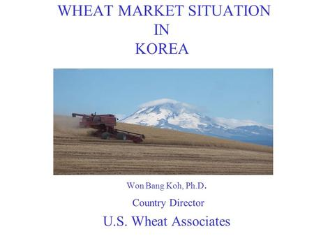 WHEAT MARKET SITUATION IN KOREA Won Bang Koh, Ph.D. Country Director U.S. Wheat Associates.