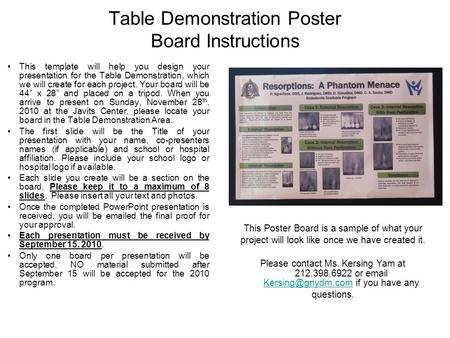Table Demonstration Poster Board Instructions