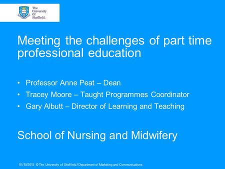 Meeting the challenges of part time professional education Professor Anne Peat – Dean Tracey Moore – Taught Programmes Coordinator Gary Albutt – Director.
