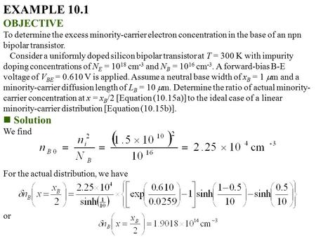EXAMPLE 10.1 OBJECTIVE Solution