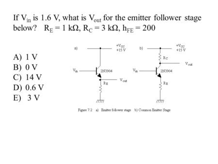If V in is 1.6 V, what is V out for the emitter follower stage below? R E = 1 kΩ, R C = 3 kΩ, h FE = 200 A)1 V B)0 V C)14 V D)0.6 V E) 3 V.